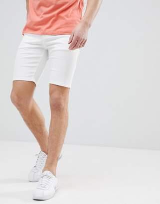 Asos DESIGN denim shorts in super skinny white