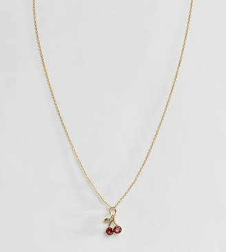 Asos DESIGN Sterling silver with gold plate necklace with crystal cherry pendant