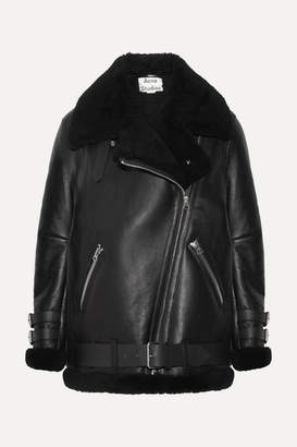 Acne Studios Velocite Shearling-trimmed Leather Biker Jacket - Black