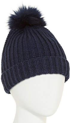 City Streets Knit Pom Faux Fur Trim Beanie