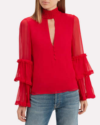 Alexis Hiro Choker Neck Red Blouse