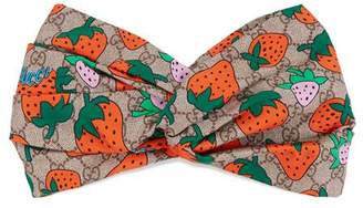 Gucci GG headband with Strawberry print