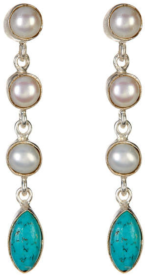 Exex Design Jewelry Sterling Silver Campbellton 6mm Pearl & Turquoise Earrings