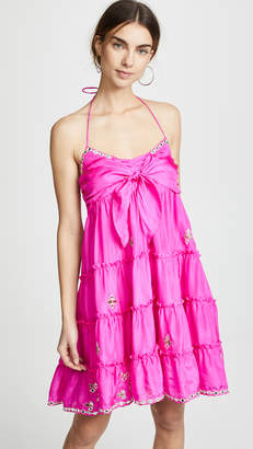 Juliet Dunn Silk Bow Tie Front Dress with Mirror Detailing