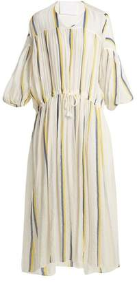 Binetti Love Dropped Shoulder Striped Cotton Dress - Womens - Yellow Navy