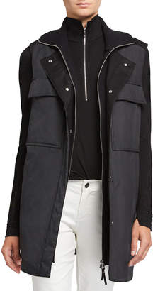 Lafayette 148 New York Willis Alpine Outerwear Vest with Knit Combo