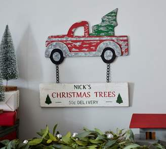Pottery Barn Woody Car Christmas Trees Sign