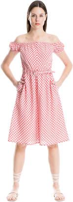 Max Studio off-the-shoulder belted gingham dress