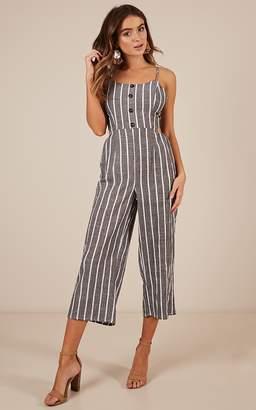 Showpo Effortless jumpsuit in grey stripe linen look