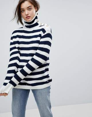 Pepe Jeans Stripe Funnel Neck Wool Blend Sweater