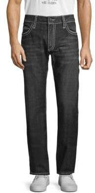 Patterned Straight-Leg Jeans