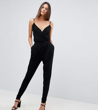 Asos Tall DESIGN Tall cami wrap jumpsuit with peg leg
