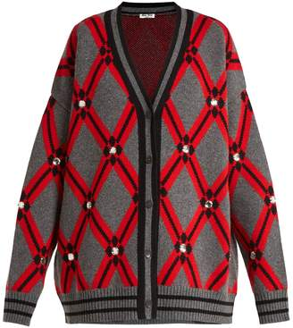 Miu Miu Crystal-embellished diamond-intarsia cardigan