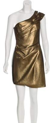 J. Mendel Leather-Accented Metallic Dress Gold Leather-Accented Metallic Dress