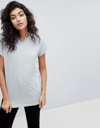 Asos DESIGN T-Shirt in Boyfriend Fit with Rolled Sleeve and Curved Hem