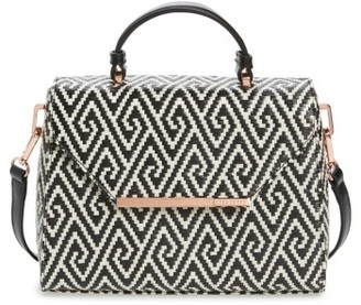 Ted Baker London Woven Straw Top Handle Satchel - Black $179 thestylecure.com