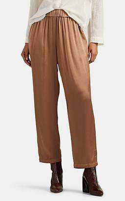 Raquel Allegra Women's Satin-Finished Crepe Pants - Brown