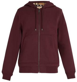 Burberry Nova Check Lined Cotton Blend Hooded Sweatshirt - Mens - Burgundy