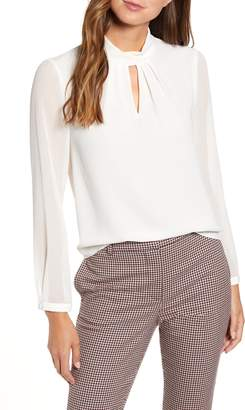 1 STATE 1.STATE Keyhole Neck Sheer Sleeve Blouse