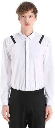 Neil Barrett Cotton Poplin Shirt W/ Vinyl Stripes