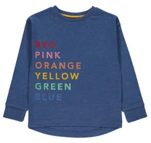 George Blue Rainbow Flock Long Sleeve Slogan T-Shirt