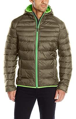 Psycho Bunny Men's Wales Puffer Lightweight Downfill Hooded Jacket