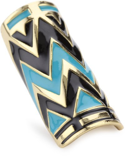 House of Harlow 1960 14k Yellow Gold-Plated Turquoise-Color Enameled Ring