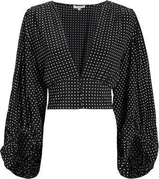 Equipment Polka Dot Cropped Blouse