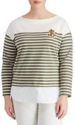 Lauren Ralph Lauren Plus Striped Layered Cotton Sweater