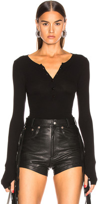 Enza Costa for FWRD Silk Rib Henley in Black | FWRD