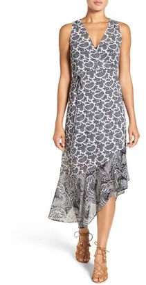 MICHAEL Michael Kors 'Woodbrook' Print Chiffon Asymmetrical Wrap Dress $175 thestylecure.com