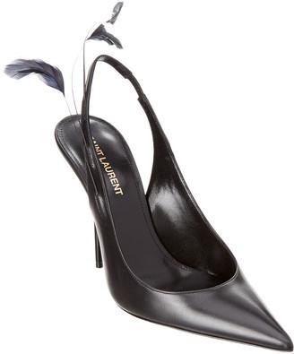 Saint Laurent Feather Slingback Leather Pump