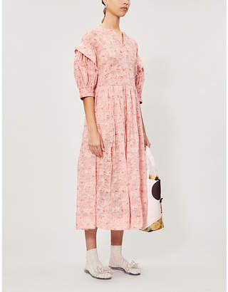 Selfridges Renli Su Puffed-sleeve floral-print linen and silk-blend midi dress