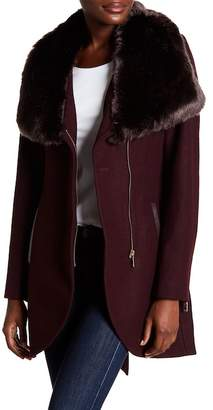 French Connection Belted Faux Fur Collar Coat
