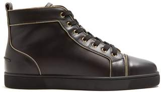 Christian Louboutin Louis Zip Trimmed High Top Leather Trainers - Mens - Black Multi