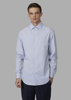 Giorgio Armani Regular-Fit Cotton Shirt With Pinstripe Pattern