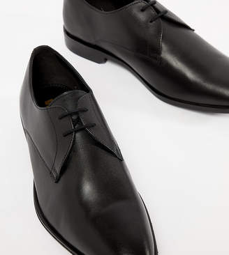 Frank Wright Wide Fit Derby Shoes In Black Leather