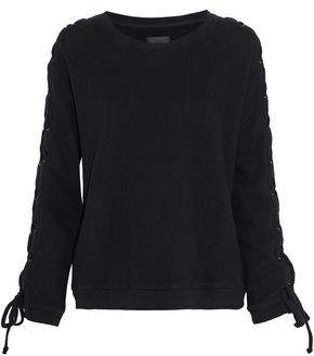 RtA Lace-Up French Cotton-Terry Sweatshirt