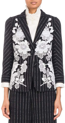 Andrew Gn Single-Breasted Pinstripe Blazer with Lace Embroidered Applique