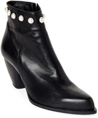 Alberto Zago Black Trimmed Leather Western Booties