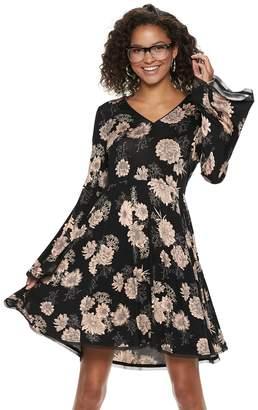 American Rag Juniors' Floral Bell Sleeve Swing Dress