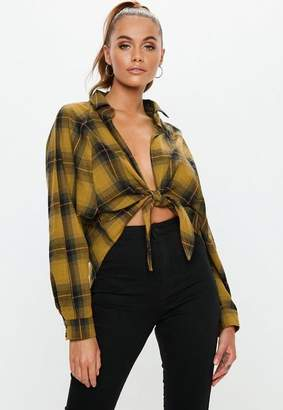 Missguided Yellow Oversized Plaid Print Tie Front Shirt
