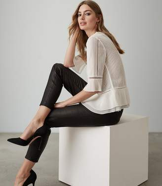 Reiss ERIKA LACE PEPLUM TOP Ivory