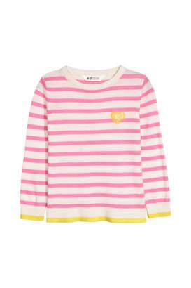 H&M Fine-knit Sweater - White/pink striped - Kids