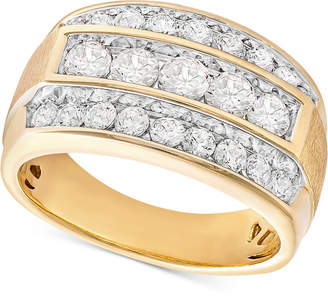Macy's Men's Diamond Linear Cluster Ring (2 ct. t.w.) in 10k Gold