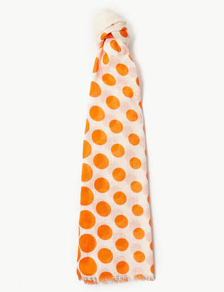 M&S Collection Pure Cotton Polka Dot Scarf