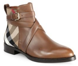 Burberry Vaughn Leather & House Check Booties