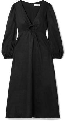 Zimmermann Wayfarer Cutout Linen Midi Dress - Black