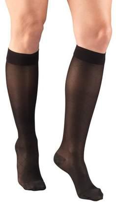 Truform Women's Stockings, Knee High, Sheer, Diamond Pattern: 15-20 mmHg, Black, X-Large