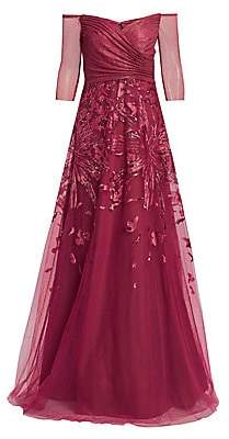 Rene Ruiz Collection Women's Metallic Embroidered Tulle Gown
